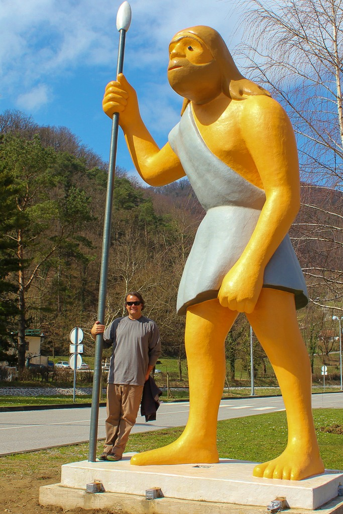 Neanderthal statue at museum in Krapina, Croatia