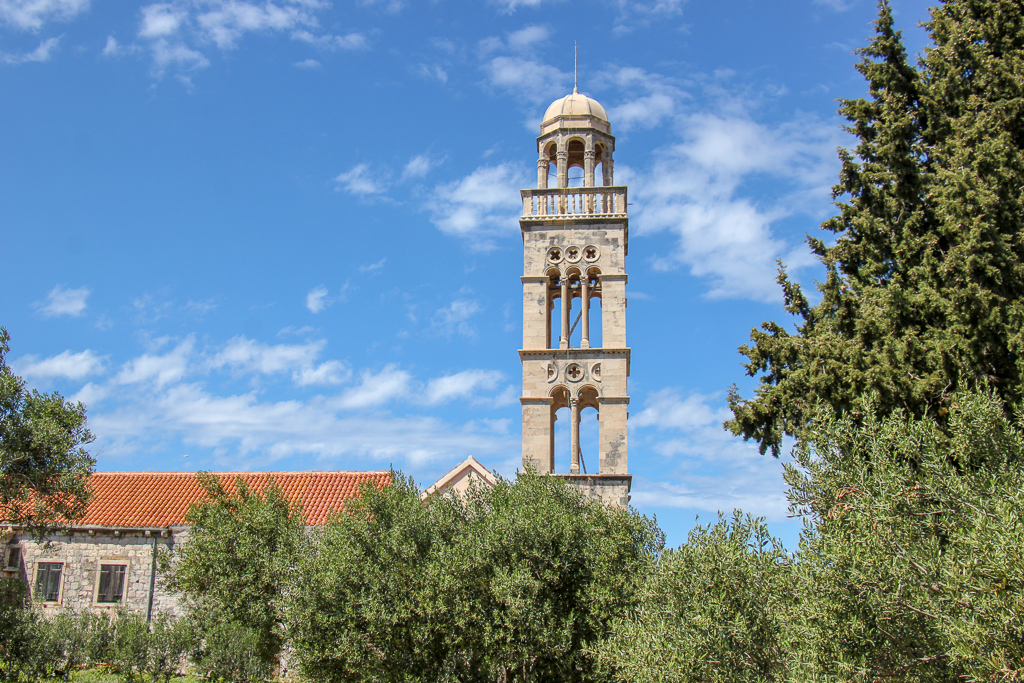 Franciscan Monastery bell tower in Hvar, Croatia