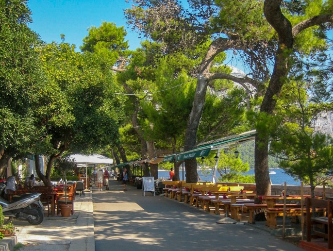 Seaside restaurants outside town walls on Korcula Island, Croatia