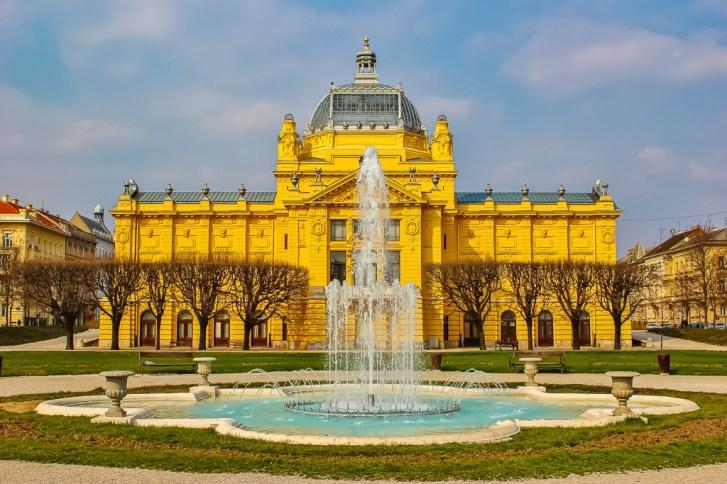 Art Pavilion and fountain on Green Horseshoe in Zagreb, Croatia