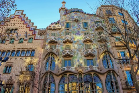 Famous Gaudi architecture, Casa Batllo, in Barcelona, Spain