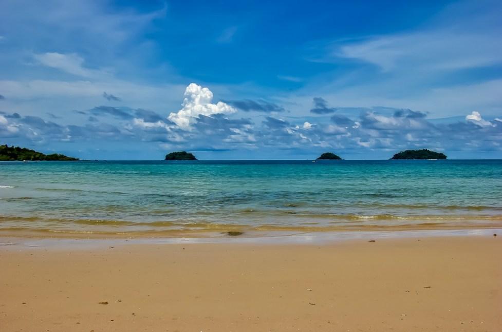 Sea and off-shore islands at Kai Bae Beach in Koh Chang, Thailand