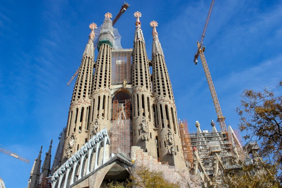 The Unfinished La Sagrada Familia in Barcelona, Spain