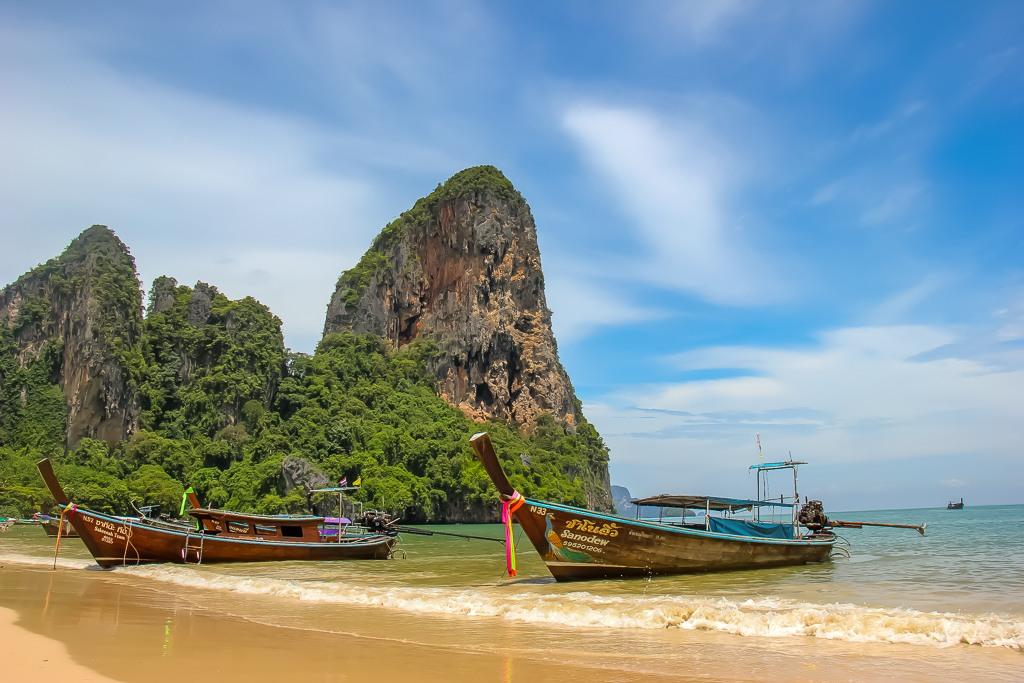Longtail Taxi Boat on Railay Beach in Krabi, Thailand