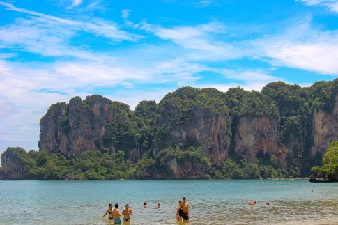 Swimming at Railay West Beach in Thailand