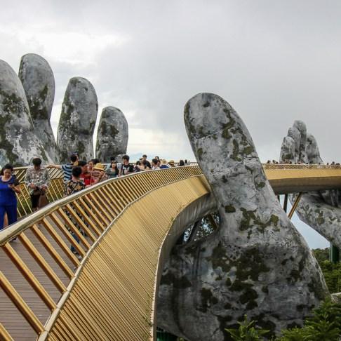Best view of Golden Bridge at Ba Na Hills in Da Nang, Vietnam