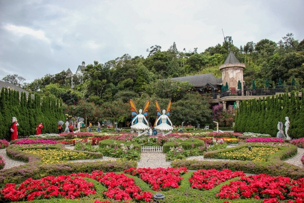 Colorful flower garden at Ba Na Hills in Da Nang, Vietnam