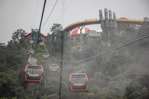 Cable Car Ride to Ba Na Hills Golden Bridge in Da Nang, Vietnam