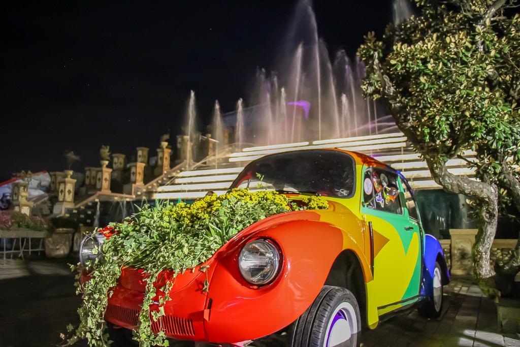 Rainbow VW Bug planter at Beer Plaza at Ba Na Hills in Da Nang, Vietnam