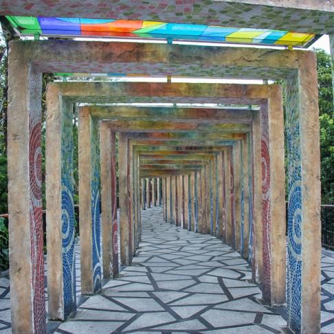 Colorful tiled arches line walking path at Ba Na Hills in Da Nang, Vietnam