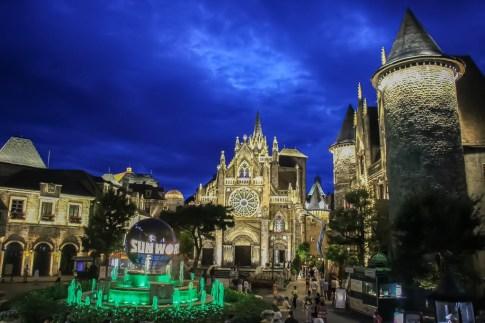 French Village at night at Ba Na Hills in Da Nang, Vietnam