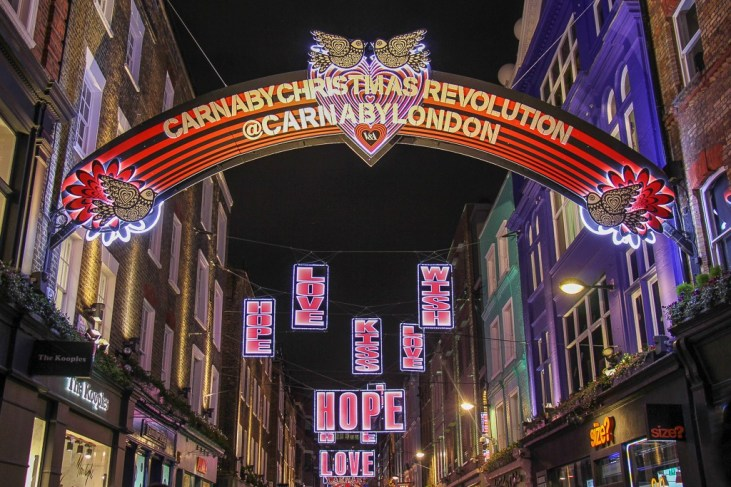 Street decorations at Carnaby Street Christmas fest in London