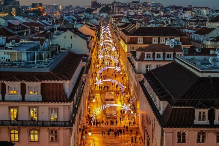 Festive holiday lights on Rua Augusta in Lisbon, Portugal