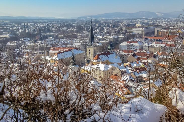 Ljubljana, Slovenia covered in snow