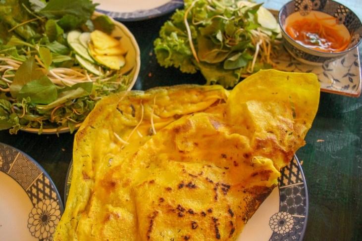 Tasty Banh Xeo and all the fixings, Da Nang, Vietnam