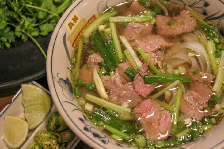 Steaming bowl of beef pho, Da Nang, Vietnam