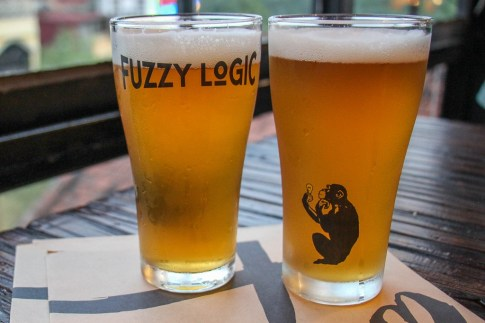 Two pints of Fuzzy Logic Craft Beer in Hanoi, Vietnam