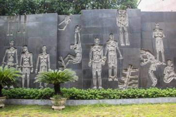 Mural at Hoa Lo Prison in Hanoi, Vietnam