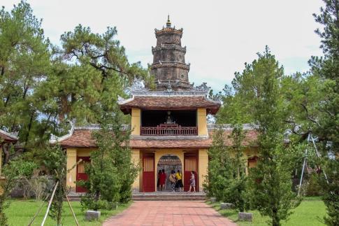 Beautiful Grounds of the Thien Mu Pagoda, Hue, Vietnam