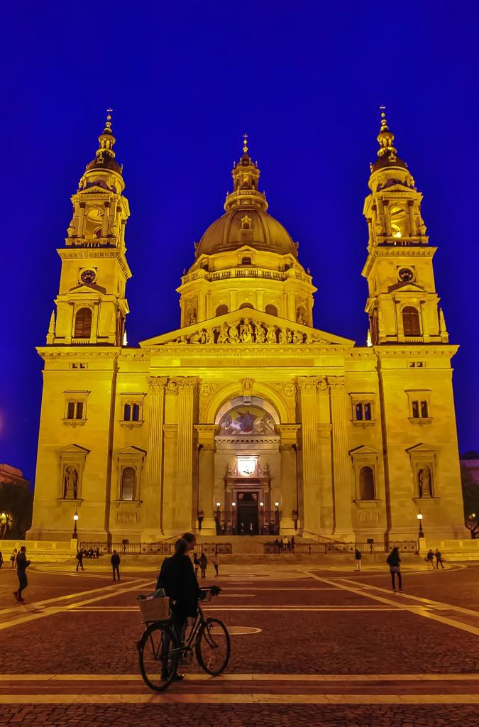 St. Istvan's Basilica at night, Budapest, Hungary