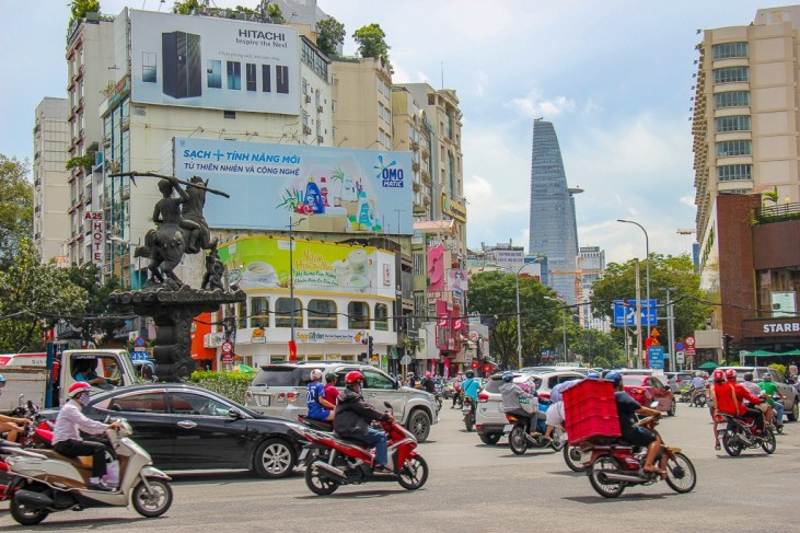 Walking the busy Streets of Saigon, HCMC, Vietnam