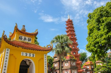 Tower and gate to Tran Quoc Pagoda in Hanoi, Vietnam