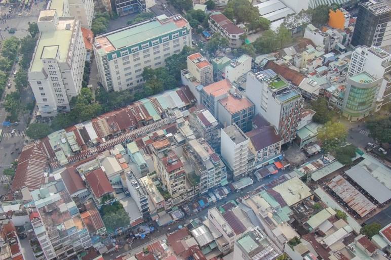 Looking down from Bitexco Financial Tower, Saigon, HCMC, Vietnam