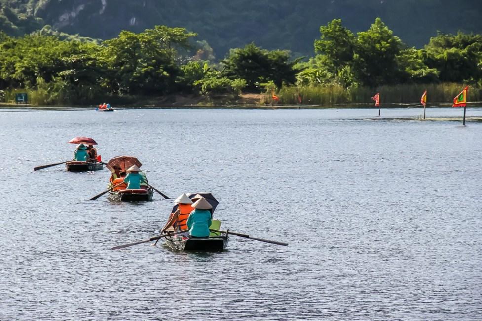 Row boats at Trang An Boat, Ninh Binh Province, Vietnam