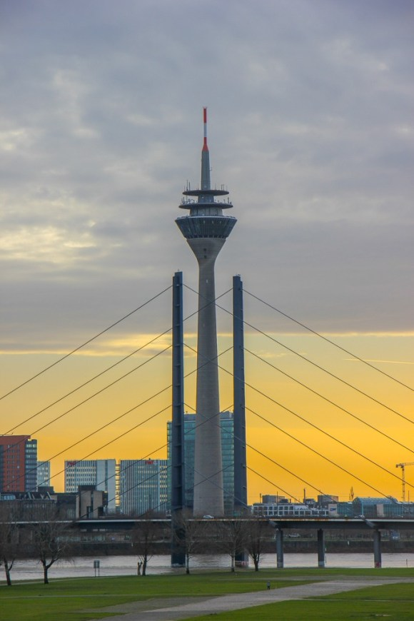 View of the Rhine Tower Sunset, Dusseldorf, Germany