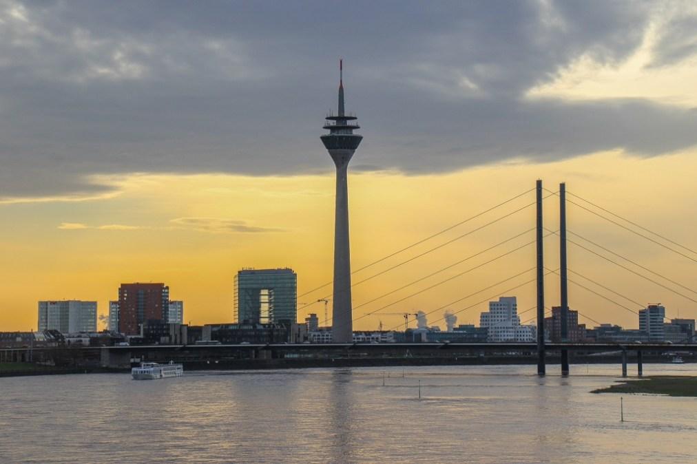 Rhine Tower Sunset, Dusseldorf, Germany