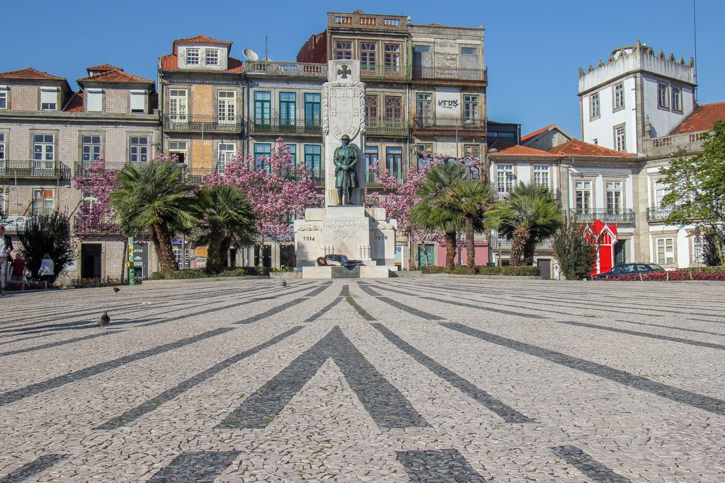 Beautiful tile sidewalk at Praca de Carlos Alberto, Porto, Portugal