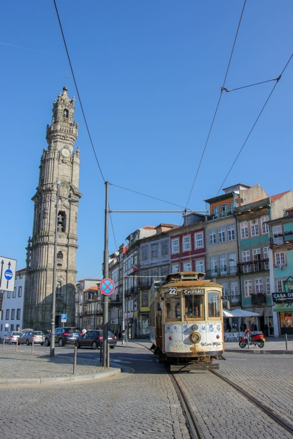 Igreja dos Clerigos and Bell Tower and Tram passing, Porto, Portugal