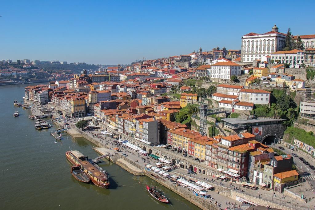 View of Ribeira District and Cais da Ribeira Porto