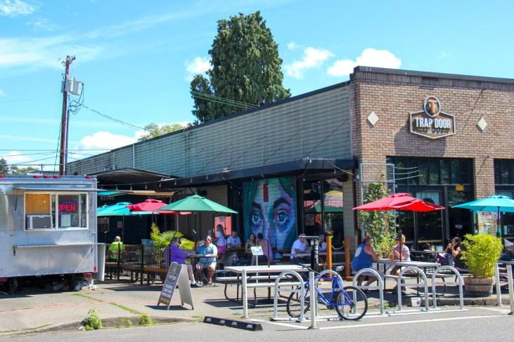 Patio and foodtrucks, Trap Door, Vancouver, WA