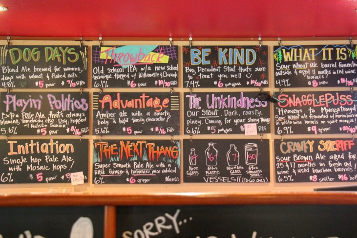Choice of craft beer at Bonsai Brewing, Whitefish, Montana