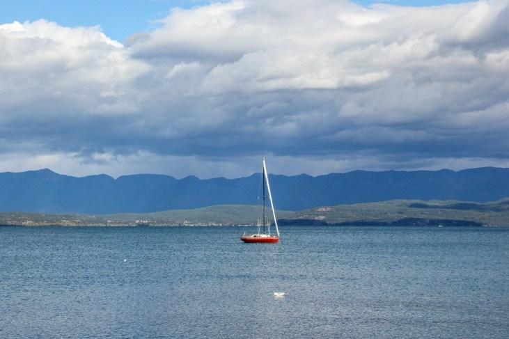 Flathead Lake sailboat waiting for some wind, Montana Road Trip