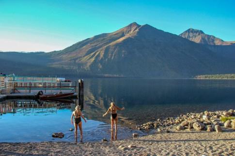 Swimming in Lake McDonald at Glacier National Park, Montana