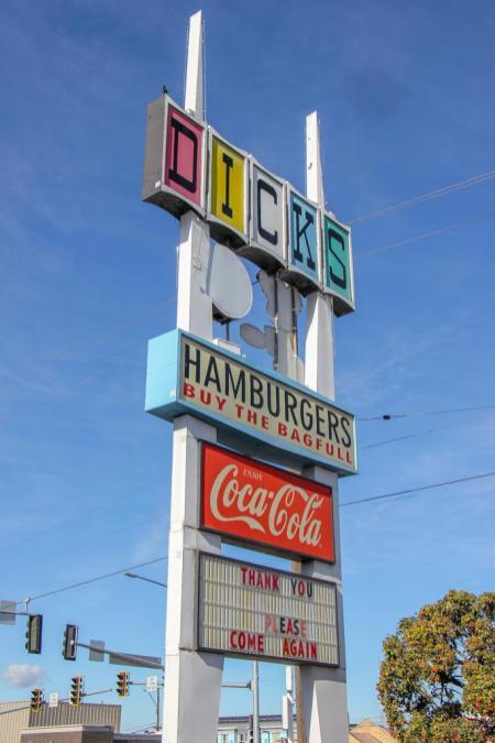 Classic sign, Dicks Burgers, Spokane, WA