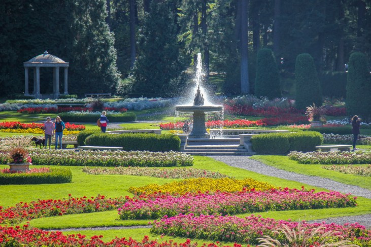 Colorful Flowers and Manito Park Fountain, Spokane, WA
