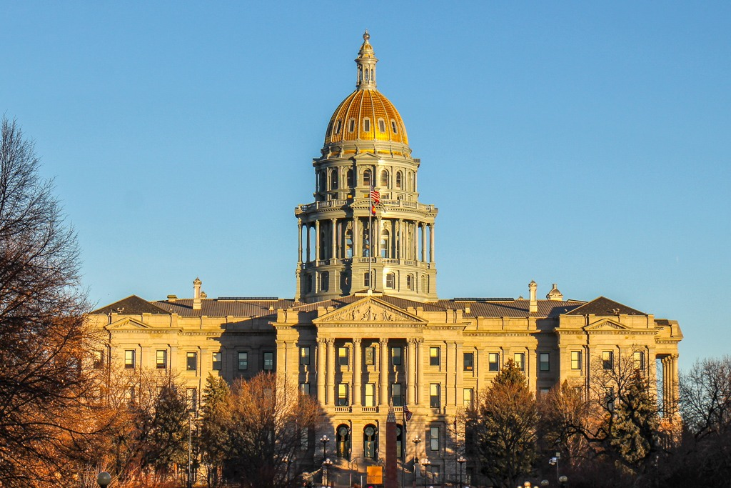 Golden Dome of the State Capital of Colorado in Denver