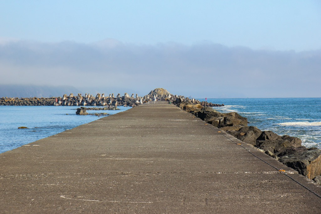 Looking down the Lighthouse Jetty, Crescent City, California