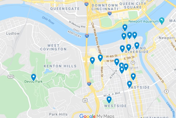 Covington, KY Map of Attractions by JetSettingFools.com