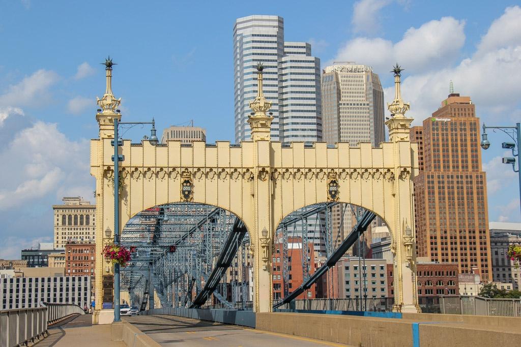 Walking across the Smithfield Street Bridge, Pittsburgh, PA
