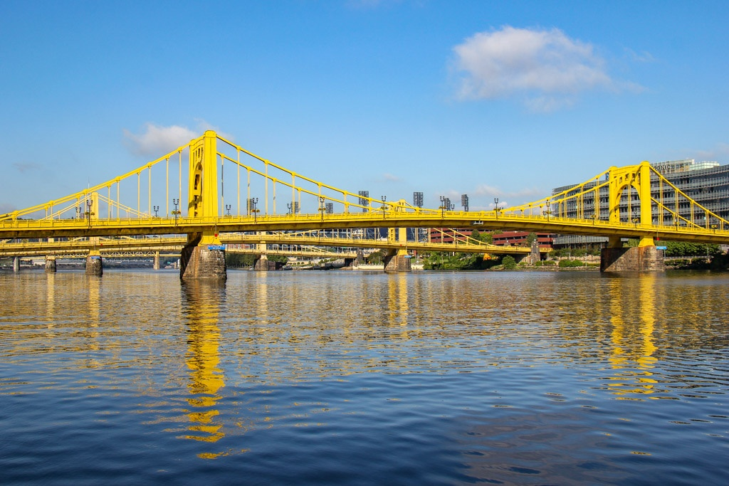 View of the Three Sisters Bridges, Pittsburgh, PA