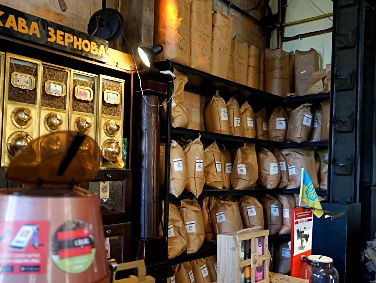 Coffee grinder at the coffee mine in Lviv