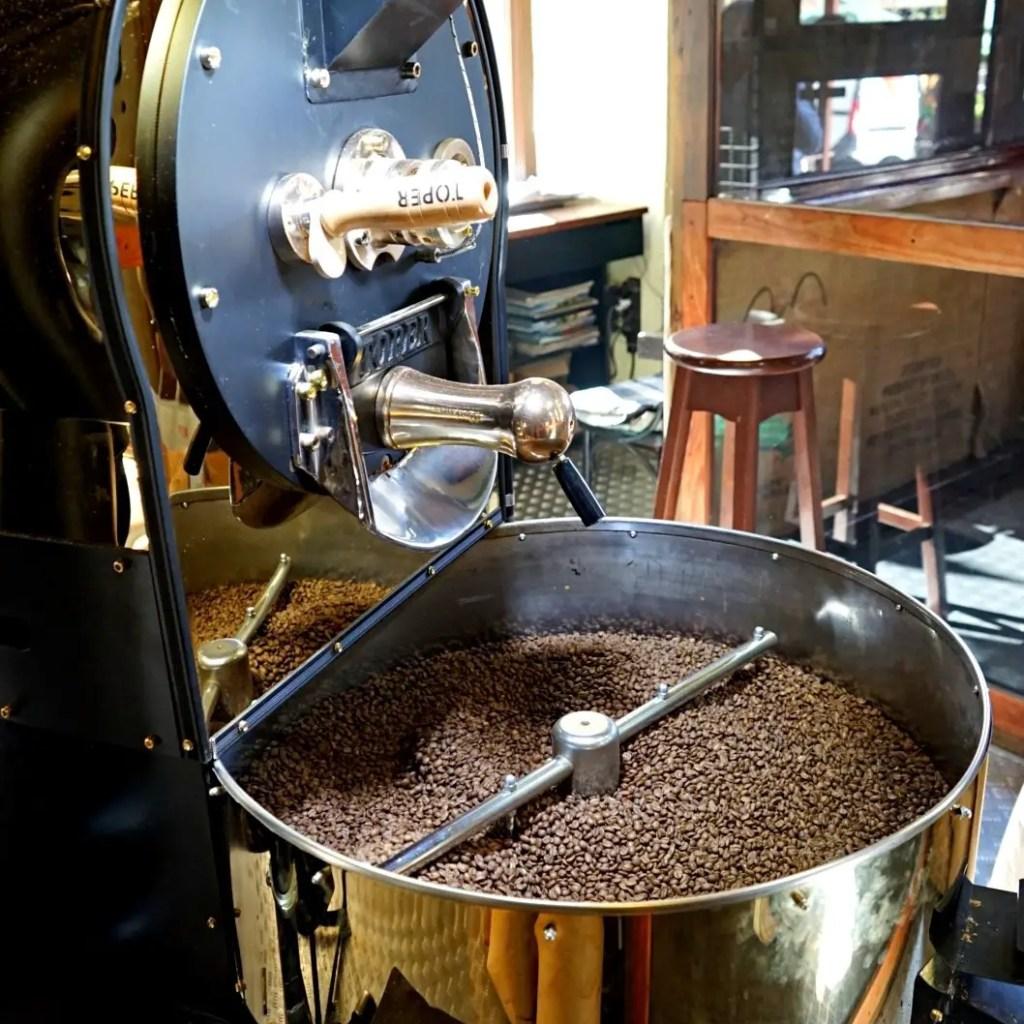 The coffee roasting machine in Lviv coffee museum