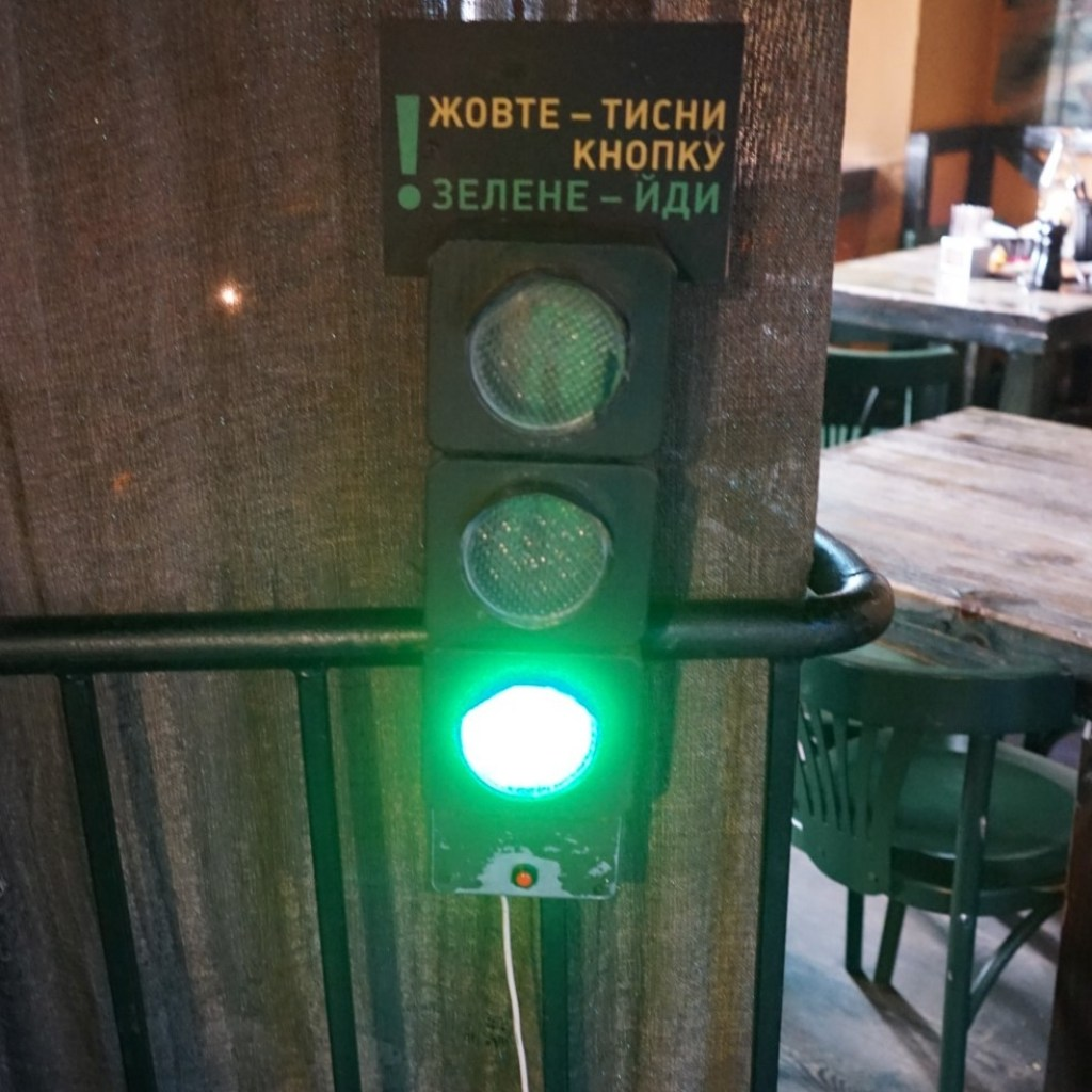 The traffic light inside Gas Lamp restaurant