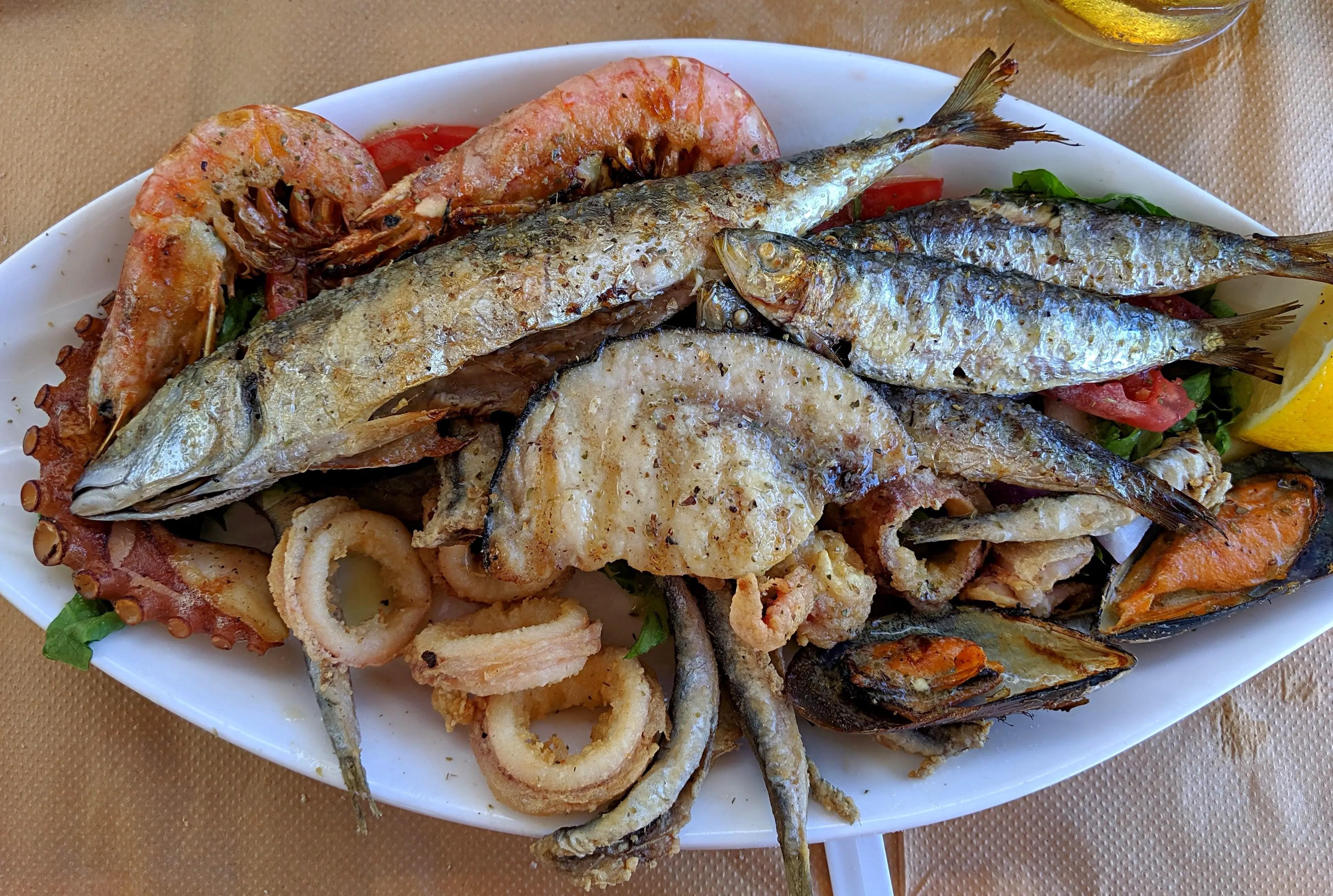 Mixed seafood at Yiannoulis Taverna in Parikia