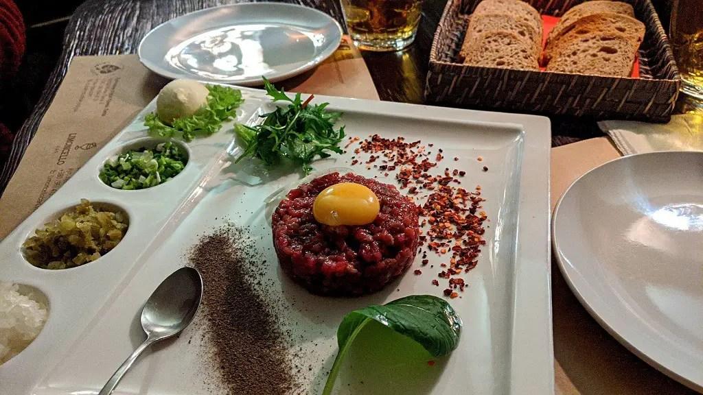 Beef Tartare at Kryva Lypa. A kitchen studio themed restaurant in Lviv, Ukraine.
