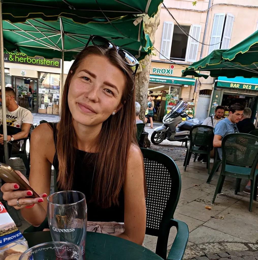 Alona drinks in Aix-en-Provence